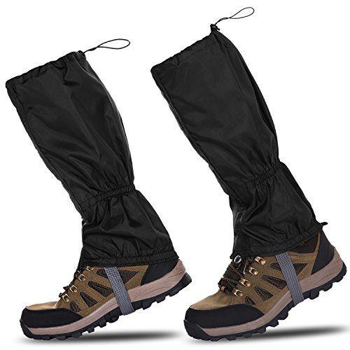 Paire de guêtres étanches Henmerry noir, extérieur, randonnée, marche, escalade, neige: Longueur: 40cm (environ). Largeur supérieure: 24…