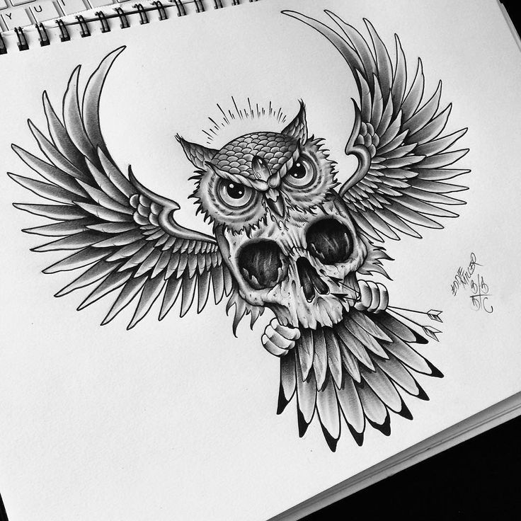 """Для клиента / For my client #backpiece #owl #skull #edwardmiller #tattoo…"