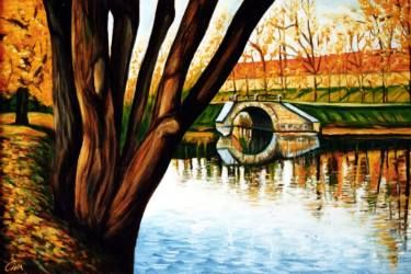 "Saatchi Art Artist Dan Civa; Painting, ""Autumn with lake and small bridge"" #art"