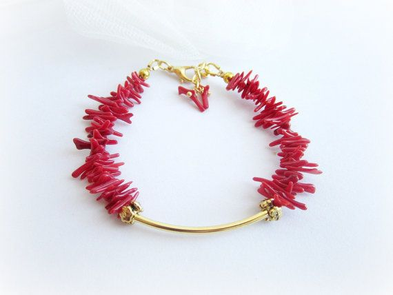 Red coral bracelet coral branch bracelet red by MalinaCapricciosa