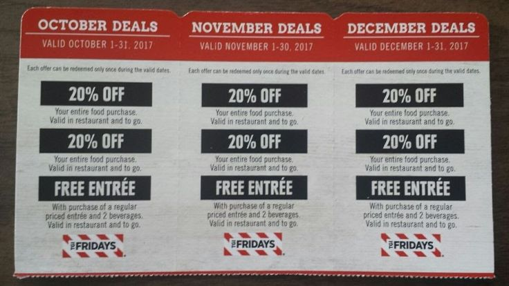 3 TGI Fridays coupons - October November December deals