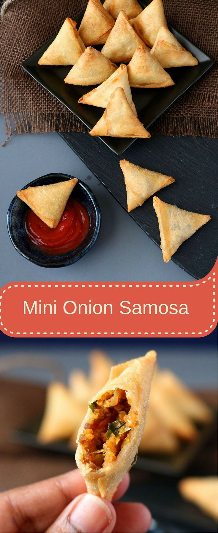Mini Onion Samosa is a quick and delicious Indian snack made with a spicy caramelized onion filling and a crispy outer spring roll wrapper.