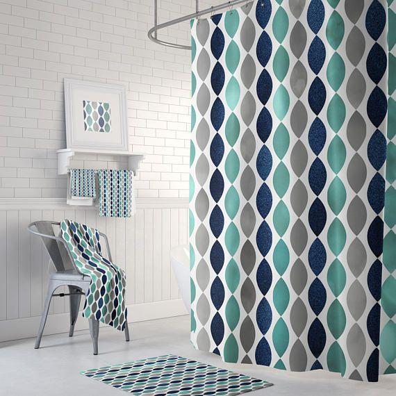 Bathroom Shower Curtain Navy Grey And Teal Bath Decor Shower