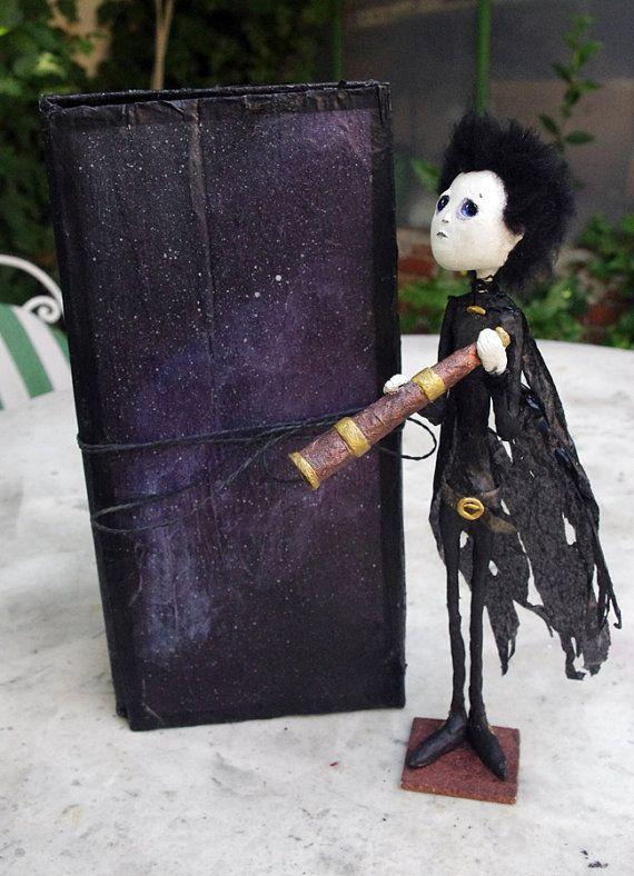 OOAK Paper mache and paper clay Art doll: Barkai by Villaoscura
