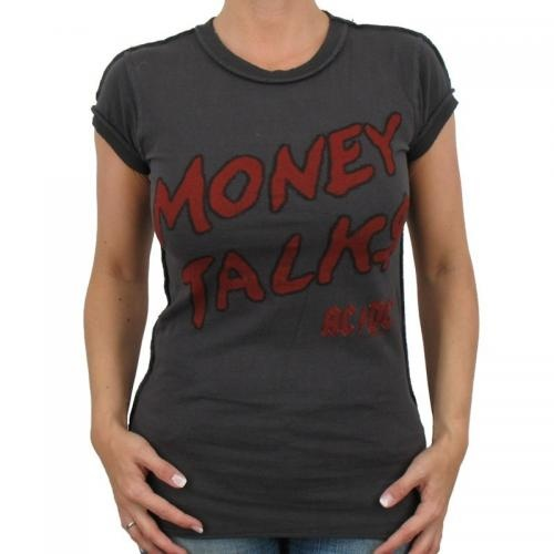 GirlieT-Shirts    Kult Band AC/DC    Eng anliegendes Amplified Band T-Shirt aus 100% Baumwolle mit Motiv MONEY TALKS der Kult-Band AC/DC und auf der Rückseide gesticktem Amplified Motiv