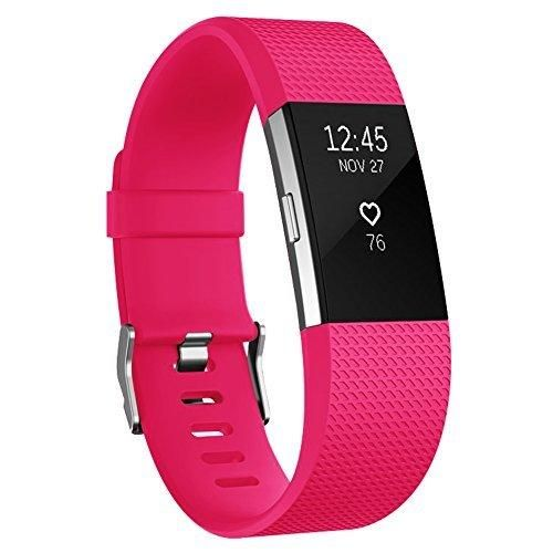 Fitbit Charge 2 Bands AK Classic Edition Adjustable Comfortable Replacement Wristbands for Fitbit Charge 2 Heart Rate [No Tracker] (Fushcia Large)