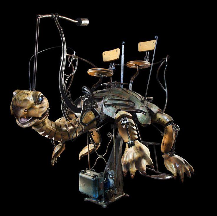 Les Machines de l'Ile de Nantes, France: Carrousel des Mondes Marins. The most original theme park THEA Awards 2014. Tortue Girafe / giant turtle made of wood and metal. Creation F. Delarozière & P. Orefice, photographed by Studio Grand Ouest