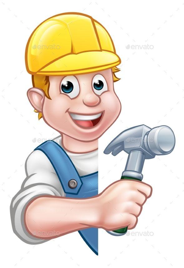 Carpenter Builder Cartoon Character Equipo Caricaturas Ing
