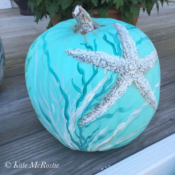 Coastal fall decor  hand painted pumpkin  by KateMcRostieHandmade