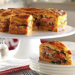 Italian Brunch Torte Recipe -We always serve this impressive layered breakfast bake with a salad of mixed greens and tomato wedges. It is one of our most requested dishes and can be served warm or cold. —Danny Diamond, Farmington Hills, Michigan