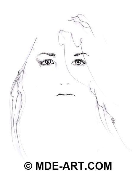Pen & Ink Portrait Drawings & Sketches of Women