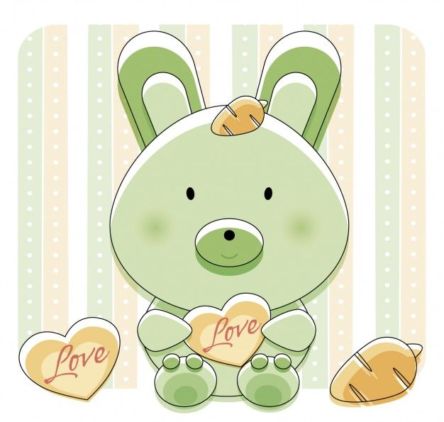 Прекрасный кролик с сердцем свободный вектор