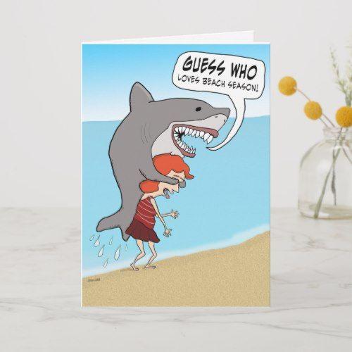 Funny Shark on Beach Birthday Card in 2020
