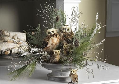 owl and pine branch arrangement: Holiday, 2012 Christmas, Christmas Centerpieces, Decorating Ideas, Woodland Christmas, Decoration Ideas, Christmas Decor, Owl Centerpiece