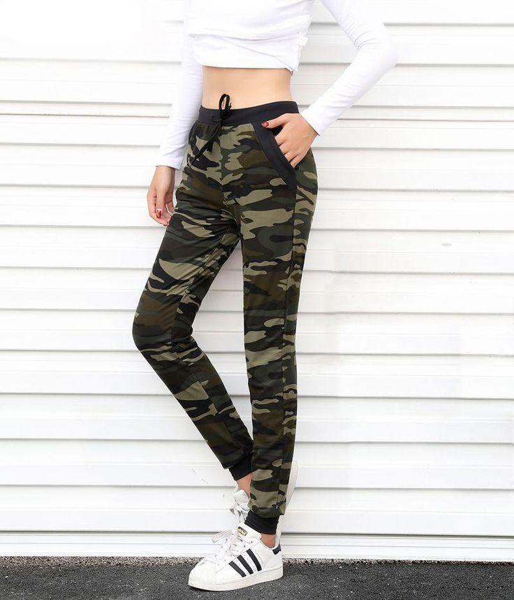 2017 New arrival Women sweatpant Camouflage Jogger Pant Harem Loose Long Pant With pocket Drawstring American Original 5020