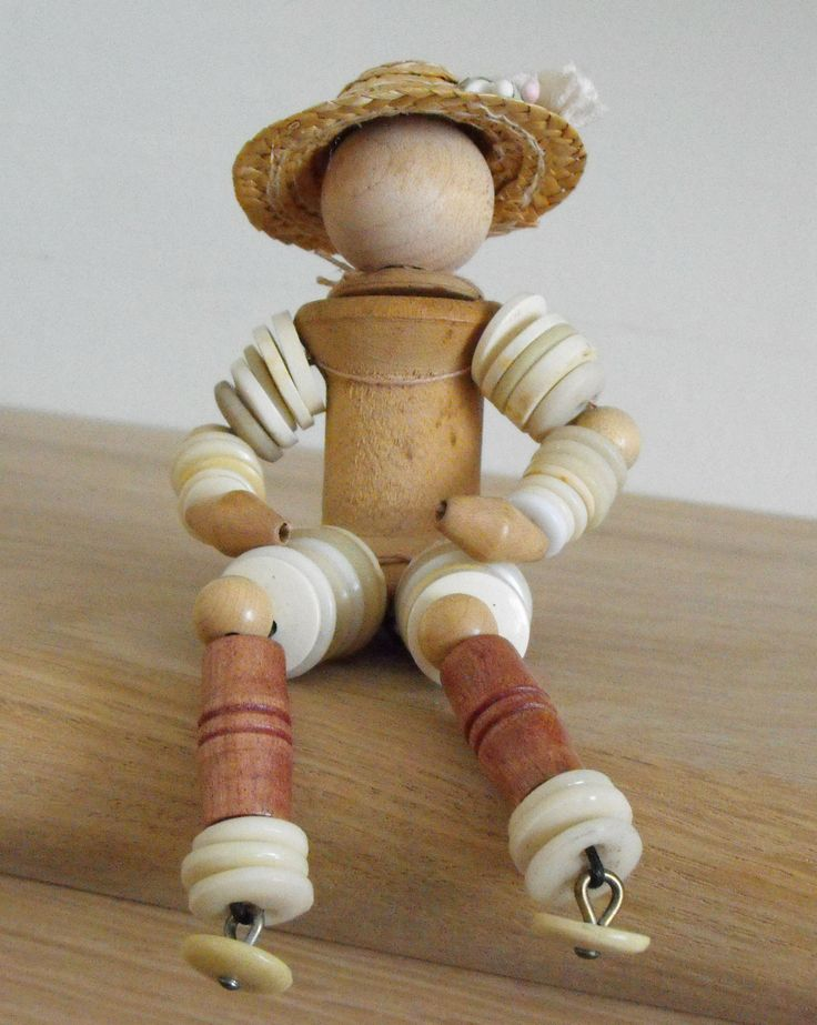 A button doll - used some of my stash of old buttons and bobbins