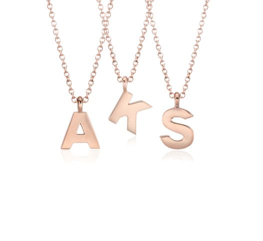 Rose gold mini initial necklaces from Blue Nile.