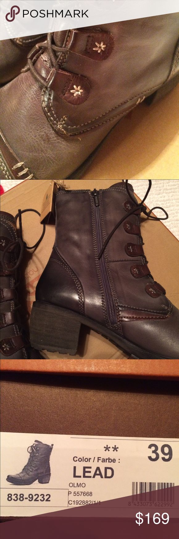 """Pikolinos NEW in box boots - color Lead Semi-vegetable tanned leather upper with contrasting detail. Feminine Flair and rugged style come together with these ultra chic boots!  Lace up closure with side zipper. Generous interior padding and removable leather insole. Heel height is 13/4"""". Shaft is 7 1/4"""". Platform height is 1/2"""".  Soft and supple. Great boot. Tags and original box!  Brand new. Retail $215 PIKOLINOS Shoes Lace Up Boots"""