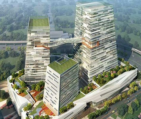 energy-efficient skyscrapers topped with lush rooftop gardens. Designed NBBJ Architects, Fei & Cheng Associates, the Chinatrust Bank Headquarters will take advantage of a host of green building strategies geared towards reducing energy consumption and optimizing passive heating and cooling. The complex is expected to receive the Taiwanese equivalent of a LEED Gold rating upon its completion in 2012.