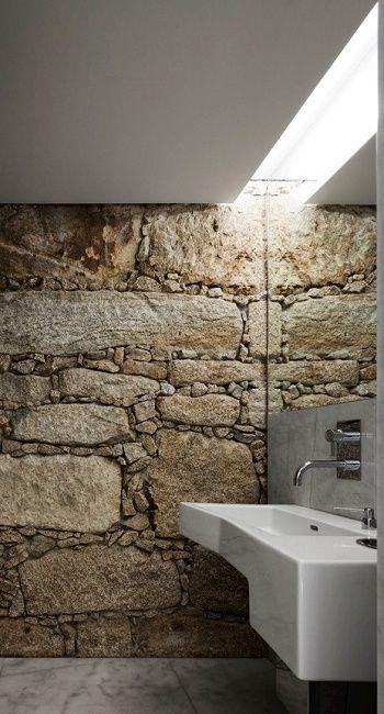 Rough stone wall bathroom toilet white modern sink interior design
