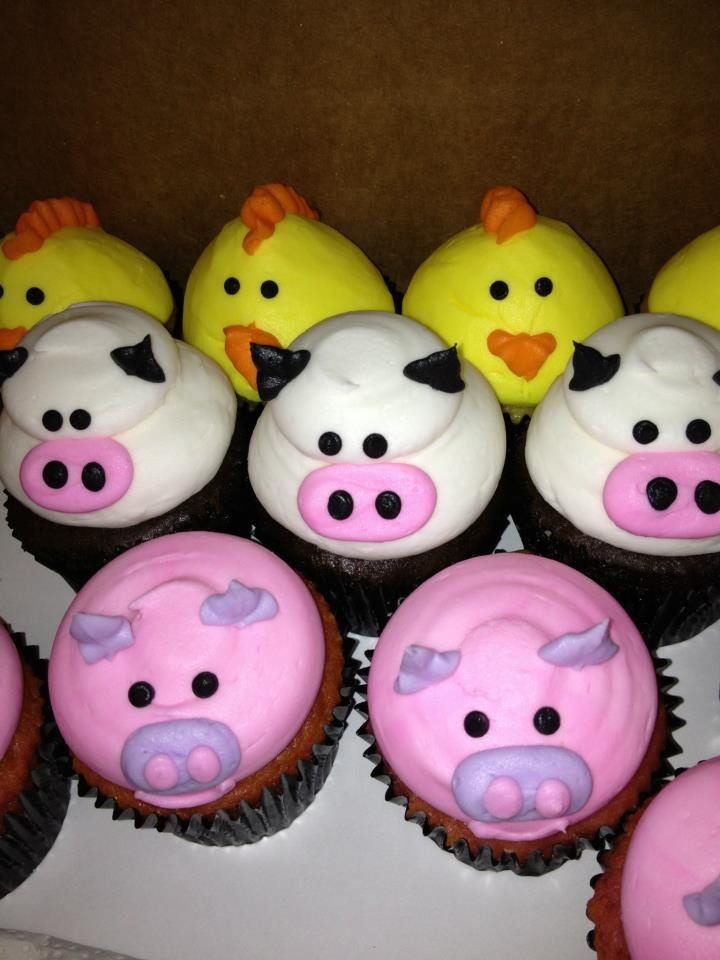 Farm animal cupcakes - pigs, chickens and cows! By CAKE & All Things Yummy in Kernersville, NC