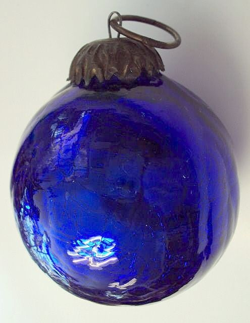 German Kugel Christmas Ornament Victorian Cobalt Blue