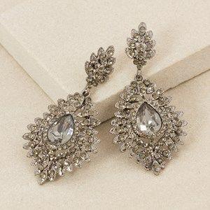Jewelled Teardrop Diamante Fan Edge Earring