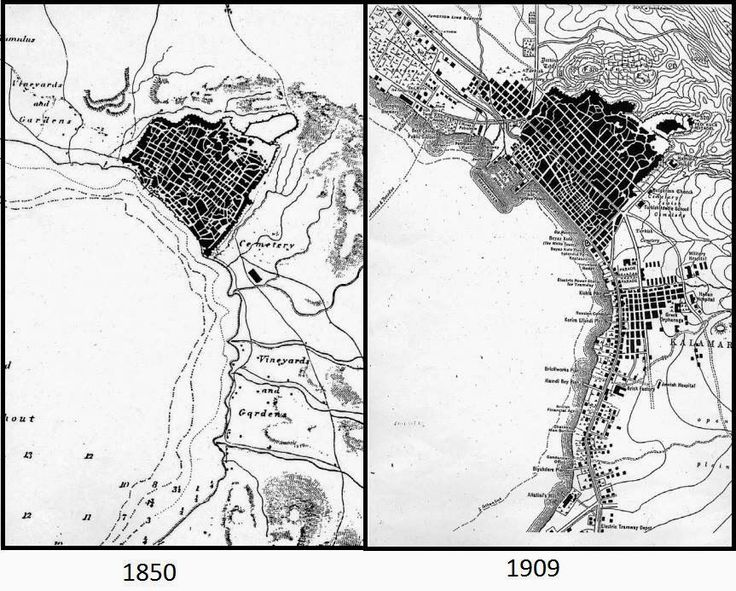 Maps illustrating the expansion of Ottoman Thessaloniki beyond the walled city, from 1850 to 1809. The Yeni Camii lies at the center of the new Hamidiye neighborhood, which appears in the right-hand map as the large area south-east of the city center, next to the shore of the bay.