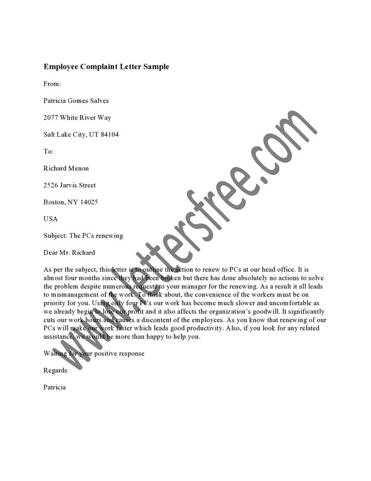 An Employee Complaint Letter is a way for employees to make a - example complaint letter