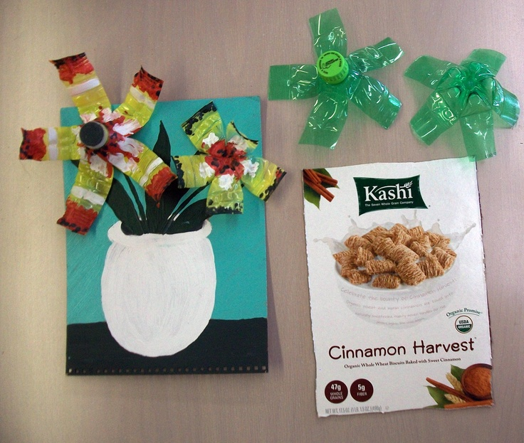 Recycled art cereal box water bottle acrylic paint cut for Recycle project ideas
