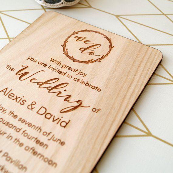 Wooden Wedding Invitation Rustic Wedding Invites Real Wood Etsy In 2021 Wooden Wedding Invitations Wood Wedding Invitations Engraved Invitations