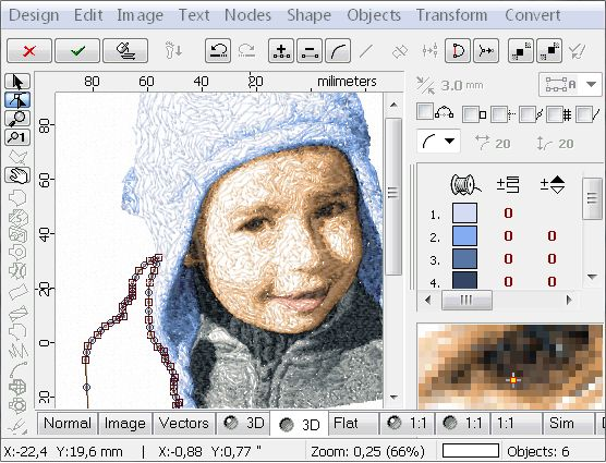 Sfumato Stitch module of Embird embroidery software converts photos into patterns for machine embroidery.