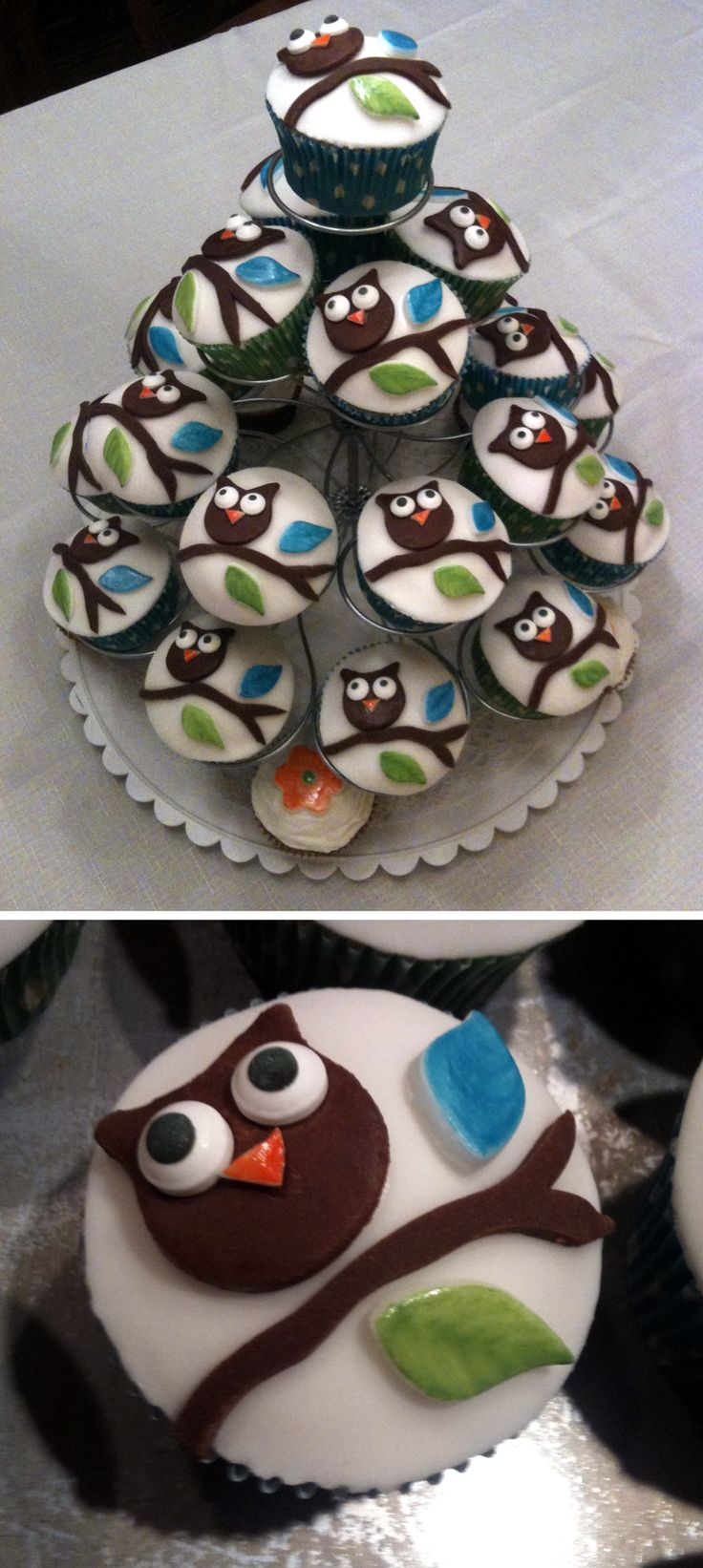 Owl Fondant Cupcakes for Baby Shower