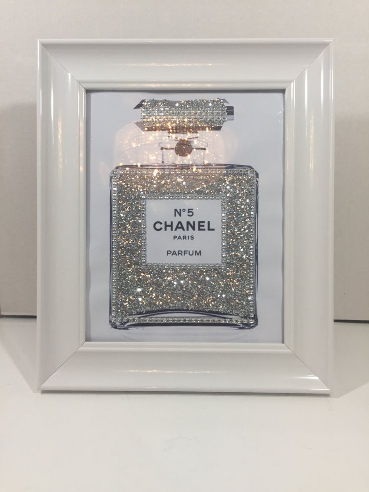 Framed Chanel Art Perfume Bottle Print Blinged Up in Silver Glitter and Crystals White Glossy Frame Included by PrintcessCharming on Etsy