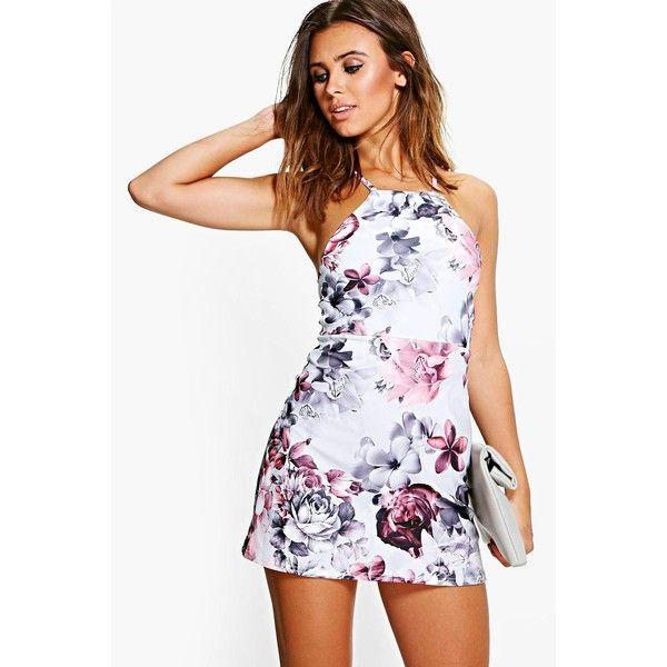 Boohoo Petite Petite Sia Floral Print Strappy Mini Dress (£23) ❤ liked on Polyvore featuring dresses, grey, bodycon dress, petite evening dresses, short evening dresses, grey bodycon dress and gray cocktail dress