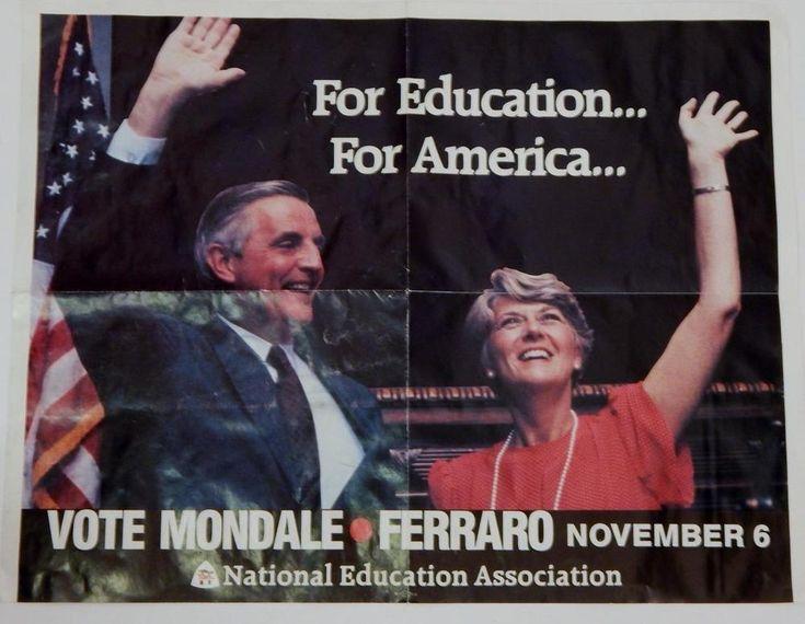 1984 National Education Association  Mondale Ferraro Jugate Campaign Poster