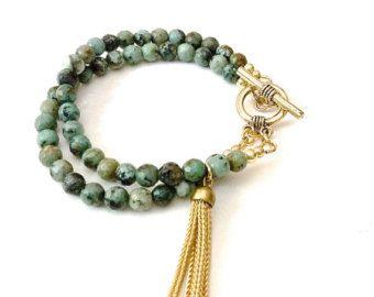 Sandelhout Boho kralen armbanden labradoriet Turquoise door byjodi