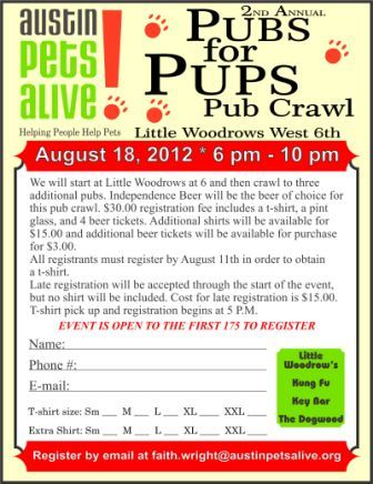 Join us on August 18th when we do a pub crawl to raise money for APA's dog rescue program.  Dogs welcome!