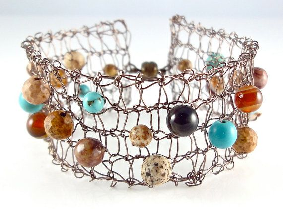 Knitting With Wire And Beads : Best images about knitted wire jewellery on pinterest