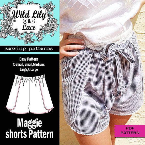 WRAP SHORTS PATTERN 307 Maggie Shorts pdf sewing pattern