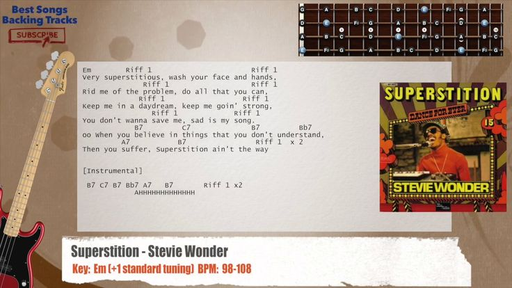 Superstition - Stevie Wonder Bass Backing Track with chords and lyrics