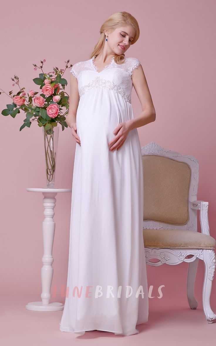 66 best maternity wedding dresses images on pinterest maternity cap sleeved a line chiffon gown with lace bodice and waist maternity wedding ombrellifo Images