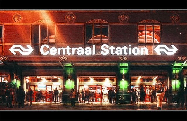 Amsterdam Centraal Station Taken with old Yashica film. A hot summer night in Amsterdam. Summer 2002