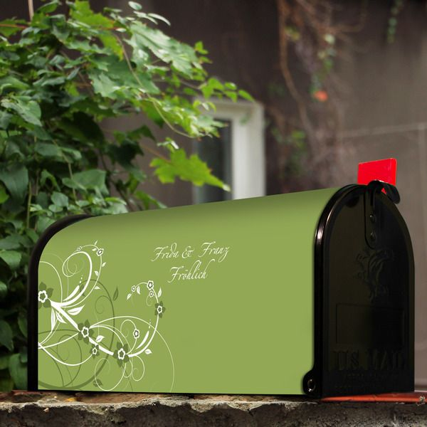 US-Mailbox Schwarz Wunschtext Motiv Grüne Blüten von banjado via dawanda.com