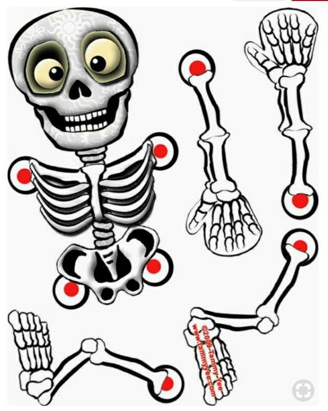 Pin De Titeres Arco Iris En Tecnica Recortables Esqueleto Para Armar Calavera De Papel Cosas De Halloween