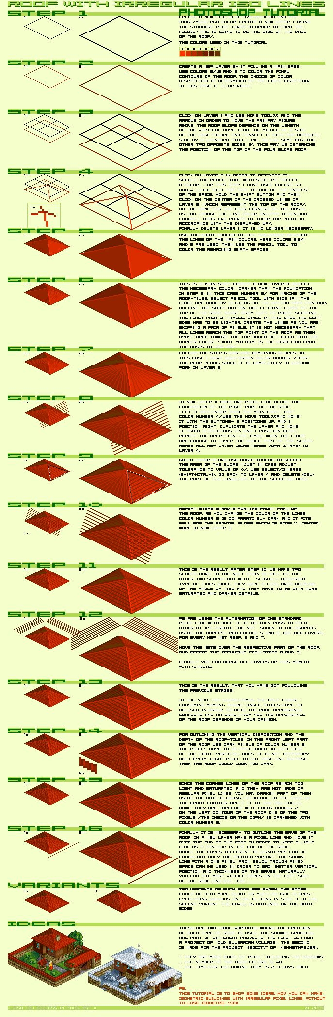 Zi Isometric Pixel Art Tutorial - Roof image http://www.pixeljoint.com/pixels/tutorials.asp?id=2357