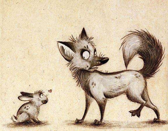 Красавица картинки, прикольные картинки с лисенком и зайцем