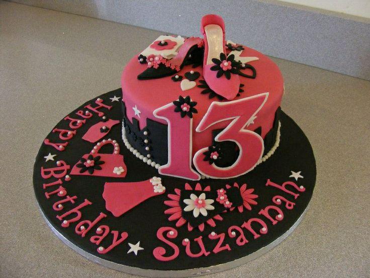 13th Birthday Cake Pink and Black Girly Birthday Cake Desserts