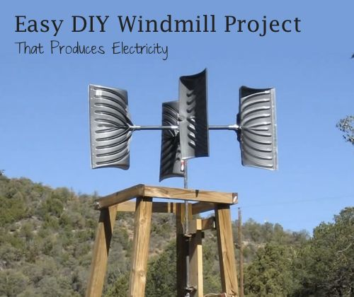 DIY electric producing windmill  http://homestead-and-survival.com/wp-content/uploads/2014/02/Easy-DIY-Windmill-Project-That-Produces-Electricity.jpg