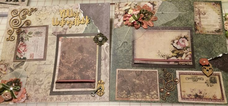 This two page layout is the perfect spot for your beautiful pics. This layout is constructed of heavyweight Blue Fern Studio papers and is one of an ongoing series of vintage layouts.